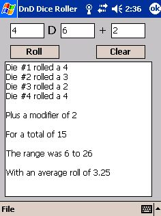 free DnD Roller 1.01 for windows mobile phone
