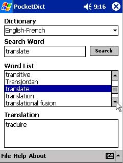 free PocketDict English-French 1.0 for windows mobile phone