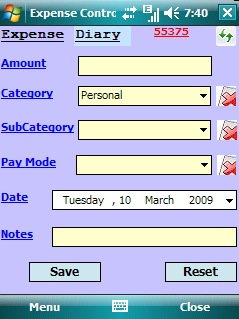free Expense Control for windows mobile phone