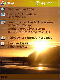 free Surf Sunset Pocket PC Theme for windows mobile phone