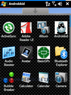 Androkkid is a new Windows Mobile interface, with a lots of customization and a fully graphical design and animations