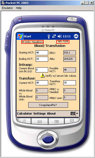 free Anesthesia Clinical Tutor & Calculator 2.5 for windows mobile phone