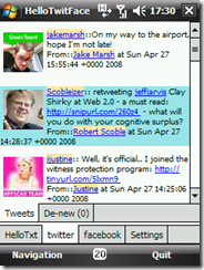 free HelloTwitFace v2.0 for windows mobile phone