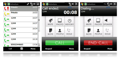 Clean and basic dialer with finger friendly interface