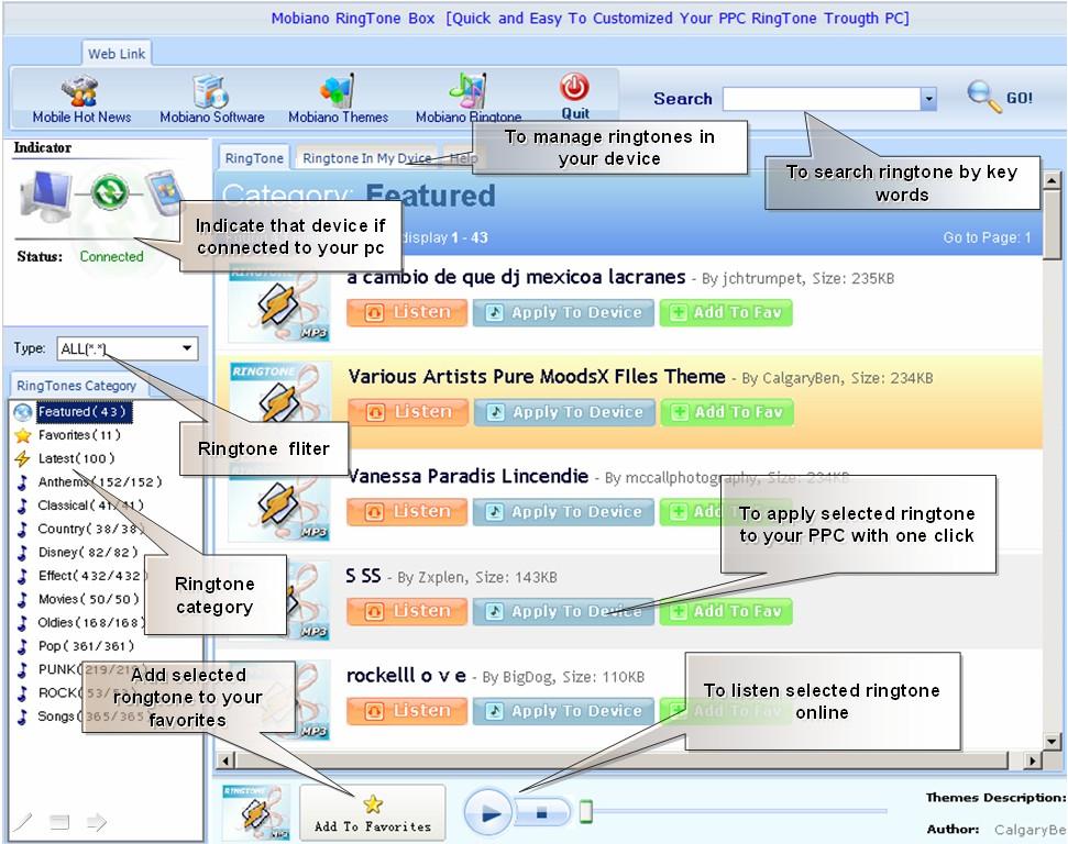 Mobiano Ringtone Box v1.0 Screenshot