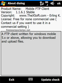 Mobile FTP Client is FTP client for windows mobile 5/6 or above that allows users to download or upload files to a FTP server.