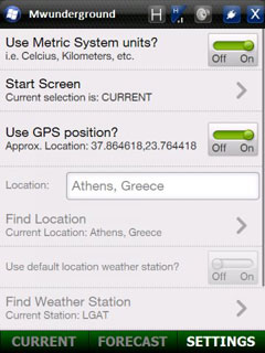 Weather Underground application for Windows Mobile