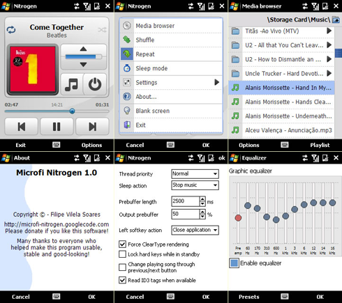 Microfi Nitrogen is a native Windows Mobile application (unmanaged code) that allows you to play MP3 songs stored on your Pocket PC device.
