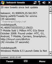 free peSHIr Tweets for windows mobile phone