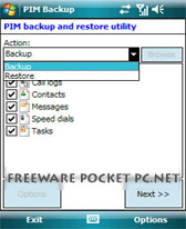 PIM Backup free download for Windows Mobile phone