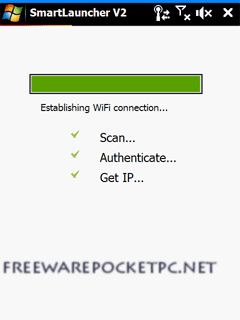 Launches Opera Mobile and starting the WiFi connection simultaneously