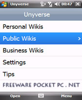 free Unyverse Mobile Wiki v0.9.54 for windows mobile phone