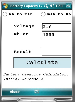 Battery Capacity Calculator Windows Mobile Phone Pocket Pc