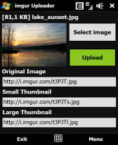 free imgur Uploader for windows mobile phone