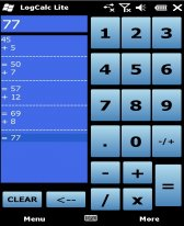 free LogCalc Lite for windows mobile phone