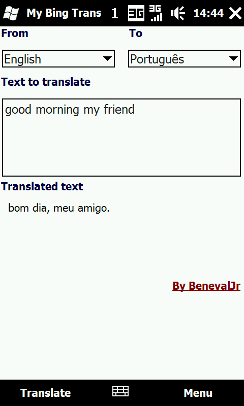 My Bing Translator v1 01 freeware for Windows Mobile Phone