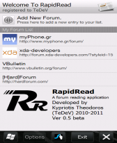 free RapidRead - A forum reading application for windows mobile phone