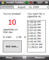 free Smoke Tracker for windows mobile phone